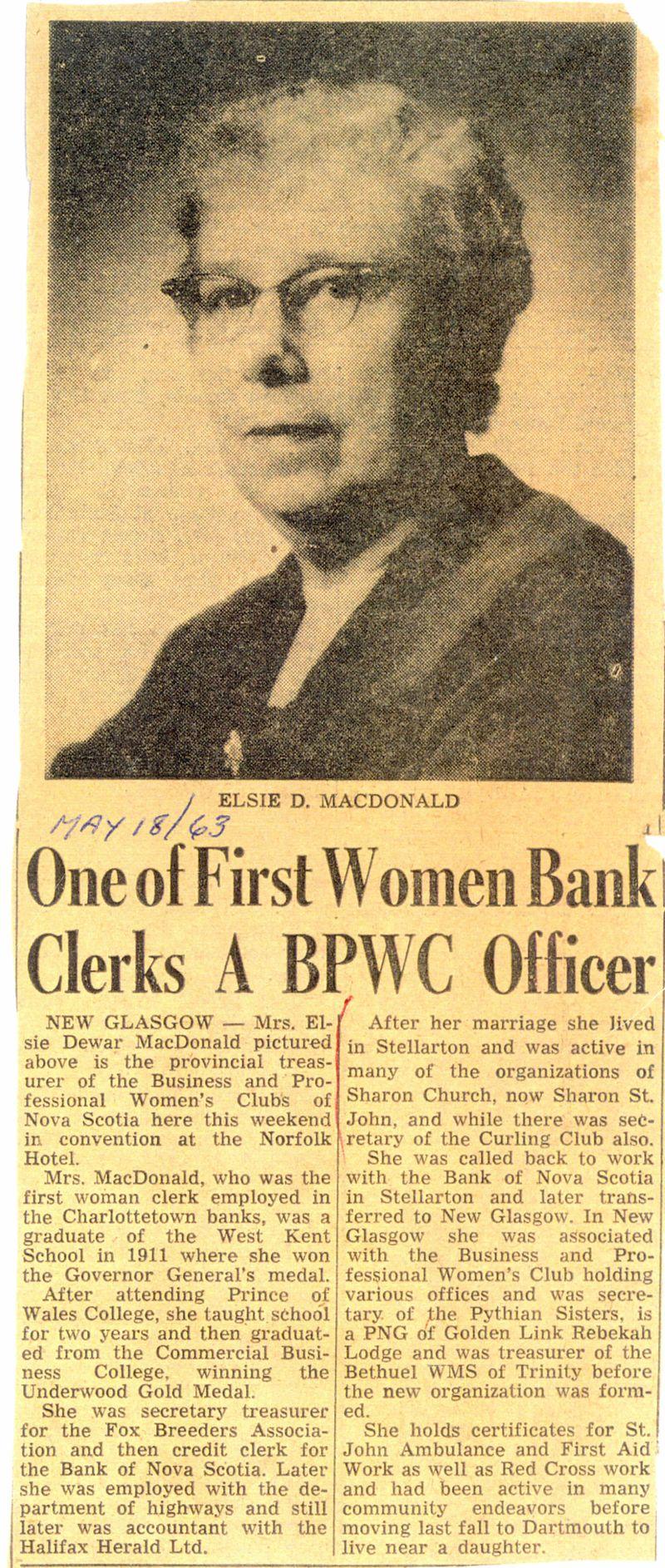 First Women Bank Clerks